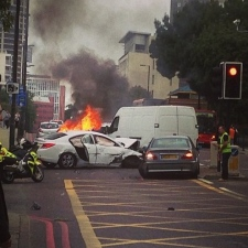 perfectly normal par-for-the-course petrol car fire in Islington